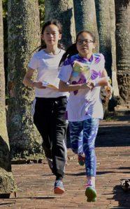 Girls orienteering racing